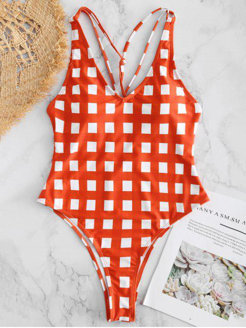 womens Gingham Caged High Cut Swimsuit - BRIGHT ORANGE M Mobile