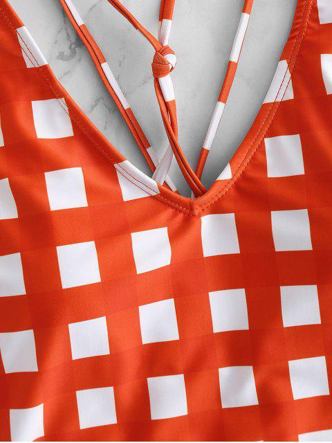 Высокий вырез Клетчатый Купальник - Ярко оранжевый M Mobile