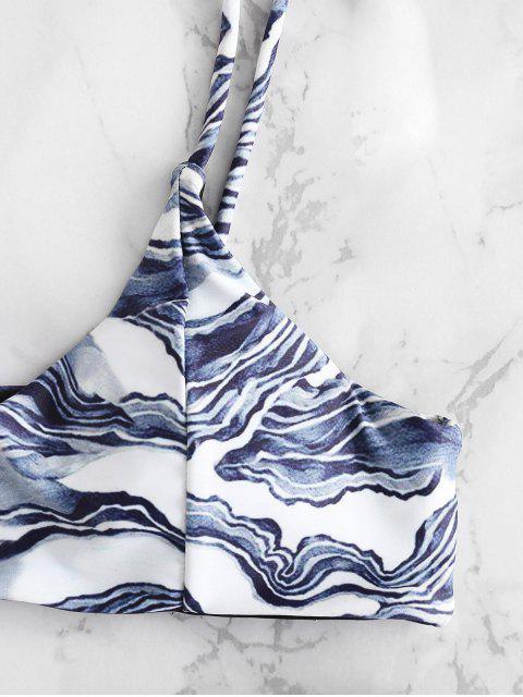online Marble Print High Waisted Bikini Set - LIGHT SLATE GRAY S Mobile