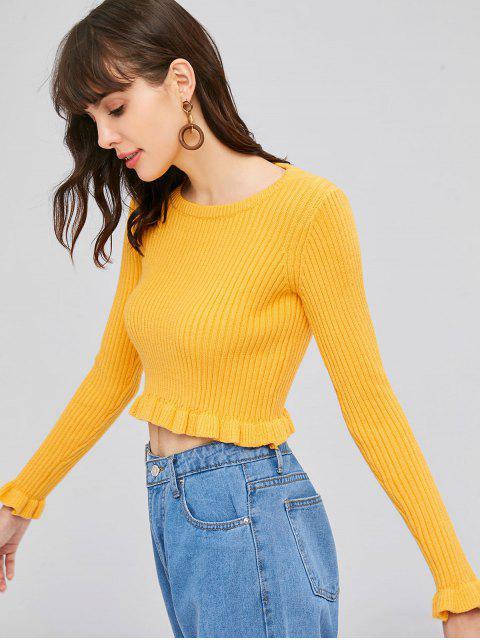 Suéter de canalé con volantes - Amarillo Brillante Talla única Mobile