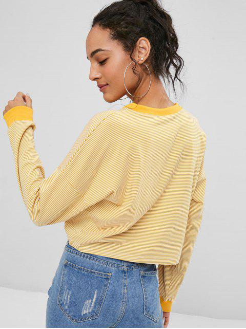 unique Striped Cropped Pullover Sweatshirt - BEE YELLOW L Mobile
