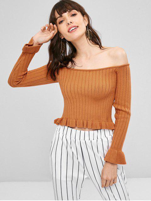 Suéter Ombro Caído com Babado - Marrom claro Um Tamanho Mobile