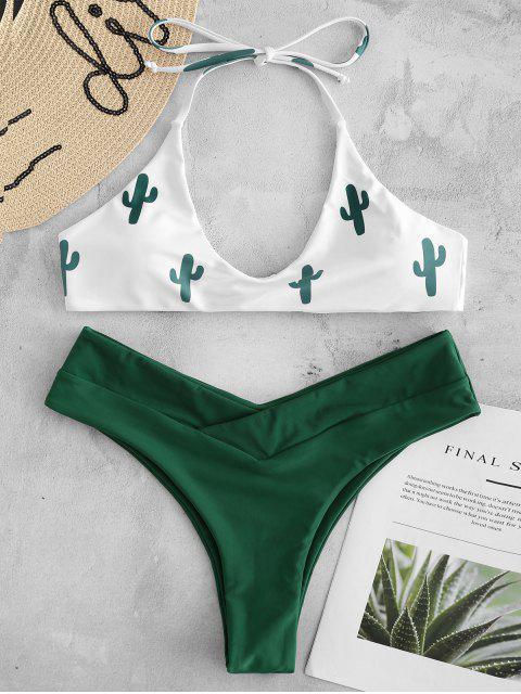 shop High Cut Cactus Print Bikini Set - WHITE L Mobile