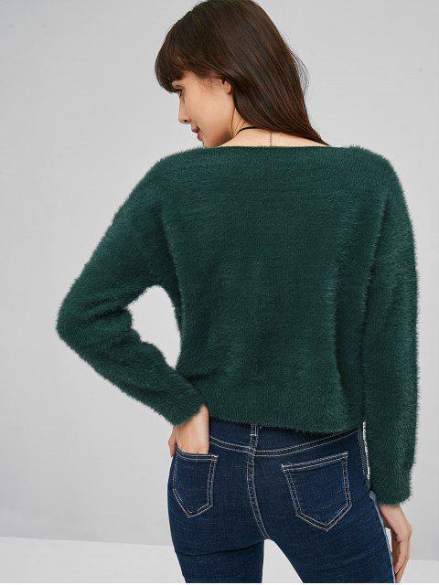 women's Round Neck Mohair Sweater - MEDIUM SEA GREEN ONE SIZE Mobile