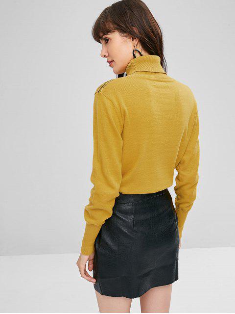 fashion Stripes Zig Zag Turtleneck Sweater - GOLDEN BROWN L Mobile