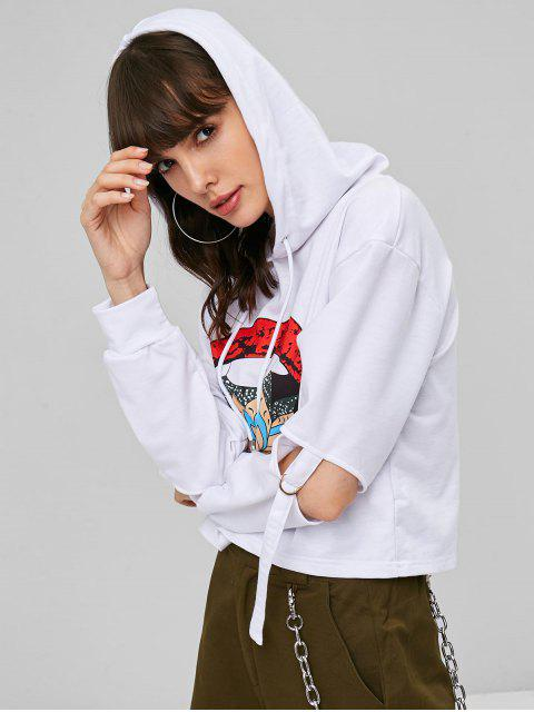 buy Cutout Sleeves Graphic Cropped Hoodie - WHITE L Mobile