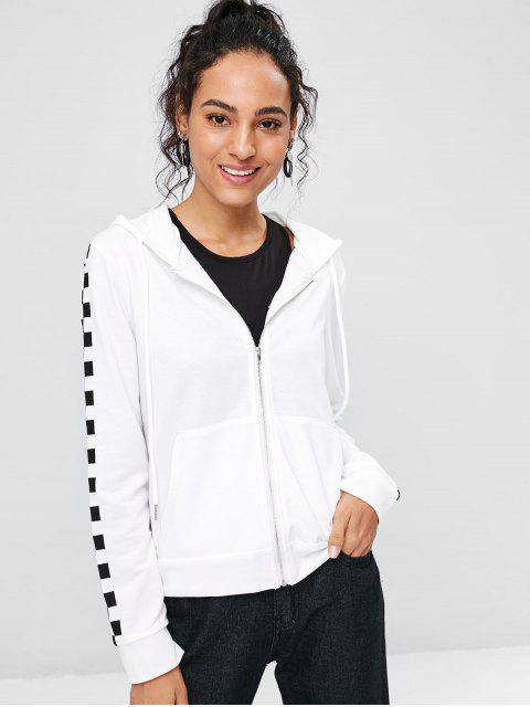 buy Checkered Sleeve Zip Up Hoodie - WHITE M Mobile