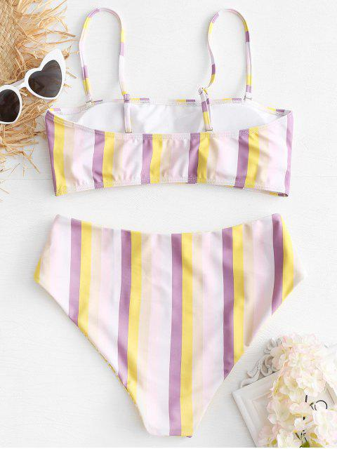 women's Striped High Waisted Bikini Set - MULTI M Mobile