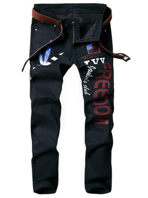 Letra de la hoja de Splited Bandera patriótica de la American impresa Jeans rectos - Negro 38 Mobile