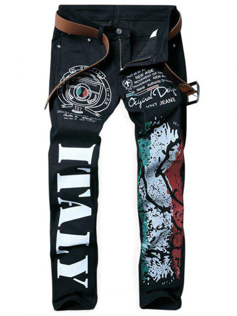 new Straight Leg Bold Letter Colorful Splash-ink Print Jeans - BLACK 36 Mobile