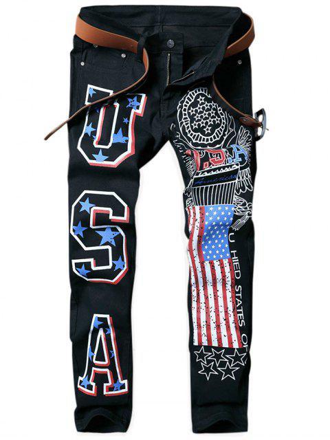 Pantalones vaqueros cónicos estampados de la bandera americana - Negro 32 Mobile