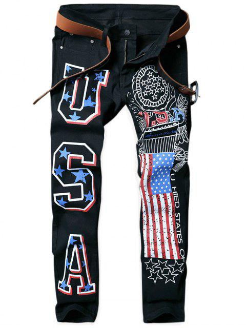 shop Letter American Flag Printed Tapered Jeans - BLACK 36 Mobile
