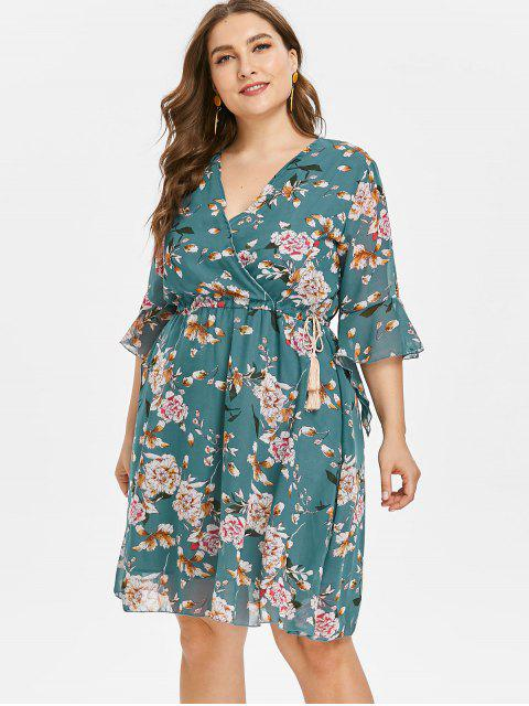 affordable Floral Ruffle Plus Size Skater Dress - DARK TURQUOISE 3X Mobile