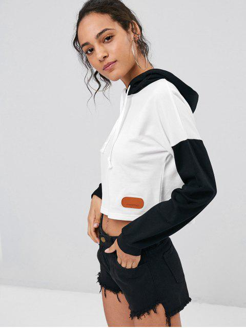 new Color Block Cropped Hoodie - WHITE M Mobile