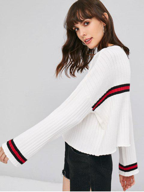 outfits Striped Graphic Sweater - WHITE ONE SIZE Mobile
