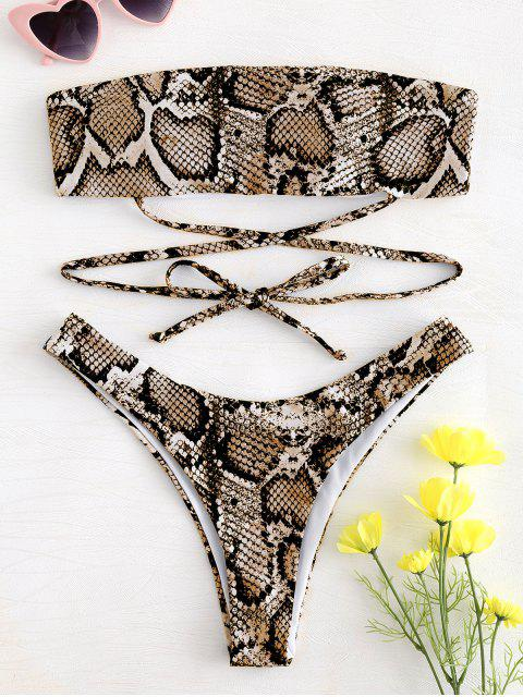 womens Snake Print Tie Bandeau Bikini - ORANGE GOLD L Mobile