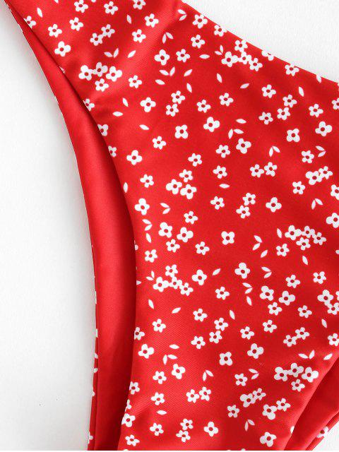 בגד ים ביקיני Knot מותניים נמוך פרחוני זעירים - אש מנוע אדום S Mobile