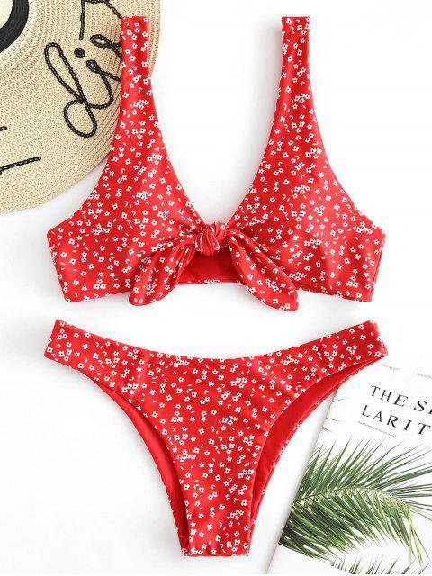 Ensemble de bikini noeud floral à taille basse - Rouge de Pompier L Mobile