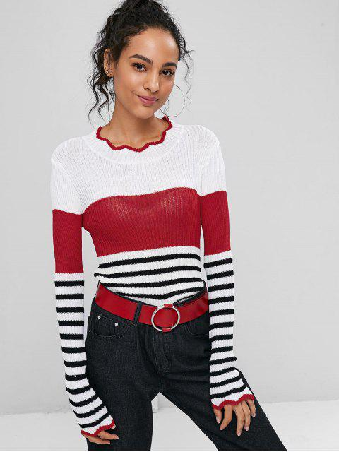 Suéter a rayas festoneado - Rojo Lava Talla única Mobile