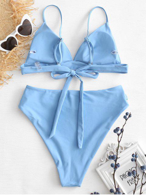unique High Cut Bikini Set - DENIM BLUE M Mobile