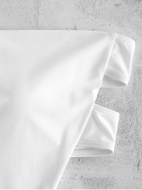 ZAFUL Открытая спина Высокий вырез Бандо Купальник - Белый L Mobile