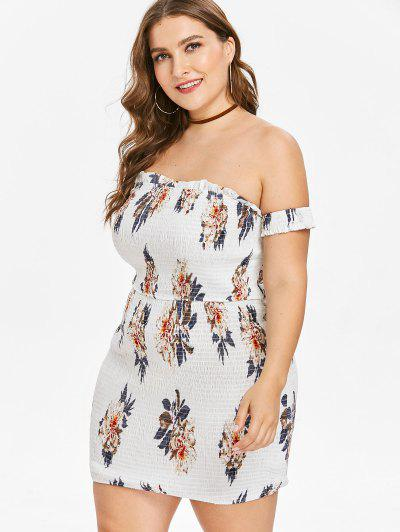 7e40992e184 ... Plus Size Floral Smocked Fitted Mini Dress - White 4x