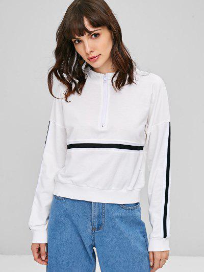 Striped High Neck Pullover Sweatshirt - White L