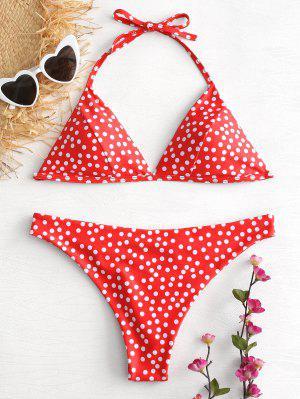 Halter Polka Dot Bikini Set - Love Red S