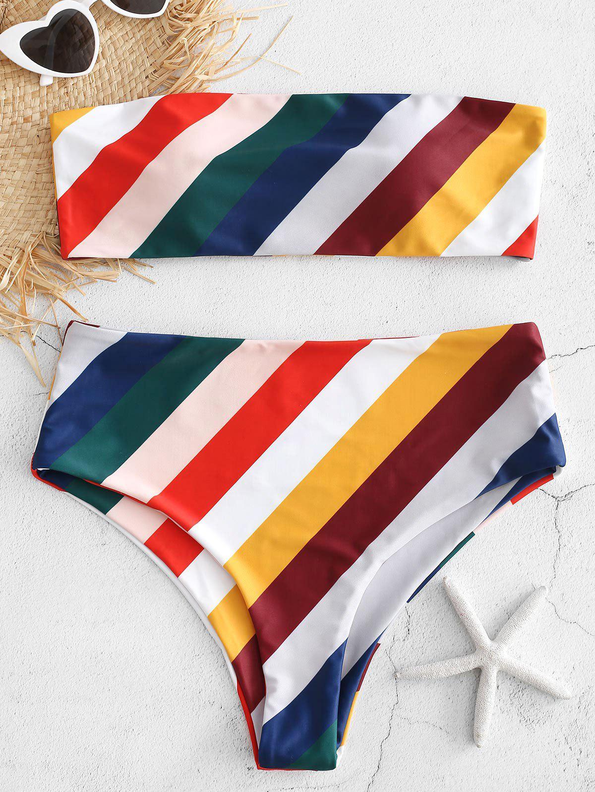 Striped High Cut Bandeau Bikini, Multi
