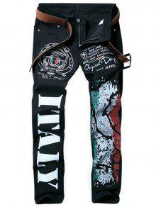 جينز بسحاب طباعة ملائم - أسود 38