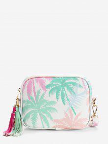 Tropical Leaves Print Color Block Tassels Crossbody Bag
