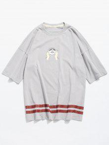 ضغط القطة طباعة الوجه الجرافيك القميص - اللون الرمادي Xl