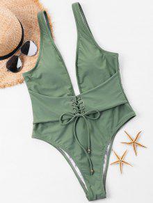 يغرق الدانتيل متابعة السامي قص ملابس السباحة - اخضر بلون البندق Xl