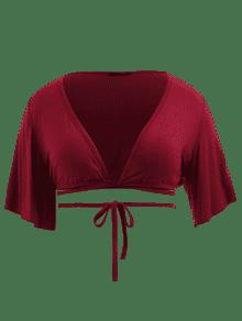 Talla Redondo Y Tinto 1x Camiseta Cuello Grande Pliegue Vino Con ESqRpxwA
