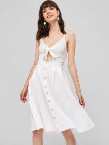 فستان بنمط لف من الامام - أبيض M