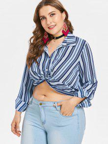 L Redondo Rayas Blusa Tirantes Azul Con De Cuello A Tierra vqxz7afYwx