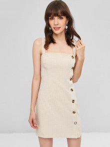 Vestido Blanco De Con Guinga Almendra Corto M Botones pqrgnwpxaP