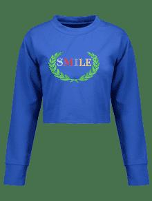 Ar Bordada De Sudadera Leaves Azul Smile EqCwfXz