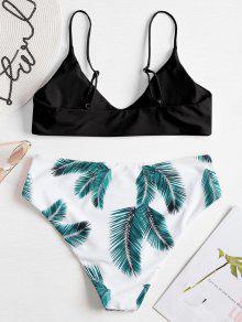 bec4a1a9a8a 30% OFF] 2019 Leaf Print Plus Size Bralette Bikini Set In BLACK | ZAFUL