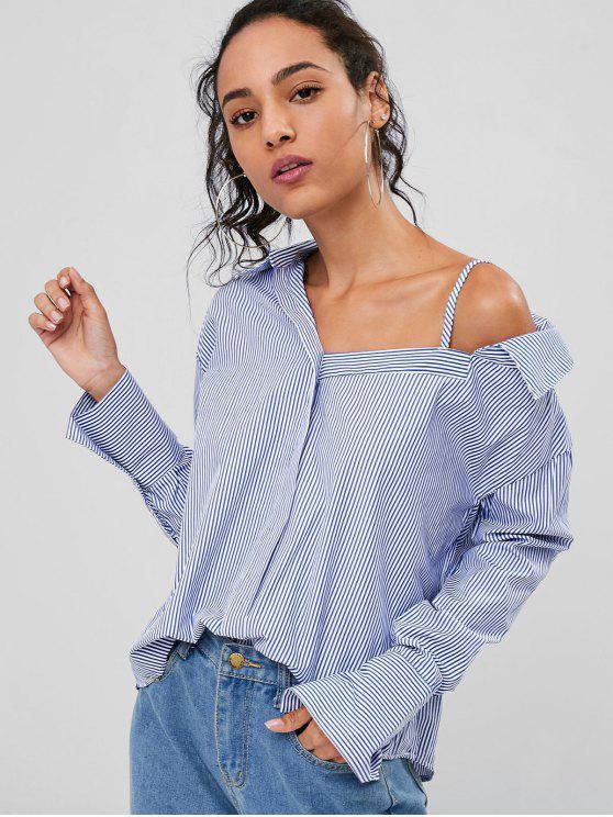 Camisa a rayas con hombros fríos - Azul de Arándanos 2XL