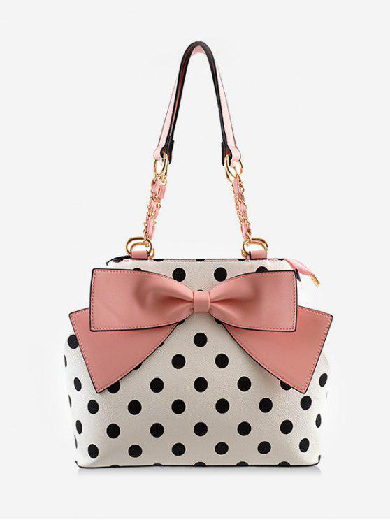 online Bowknot Retro Polka Dot Color Block Shoulder Bag - PINK