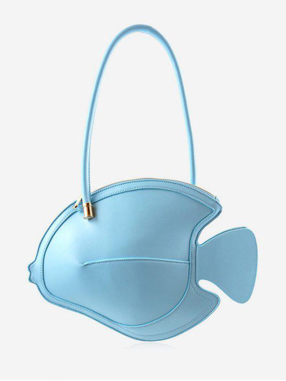 outfit Faux Leather Fish Pattern Chic Minimalist Handbag - SKY BLUE