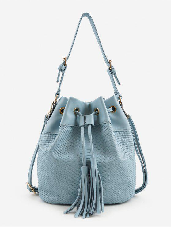 latest Embossing Minimalist Tassels Decoration Shoulder Bag - BLUE