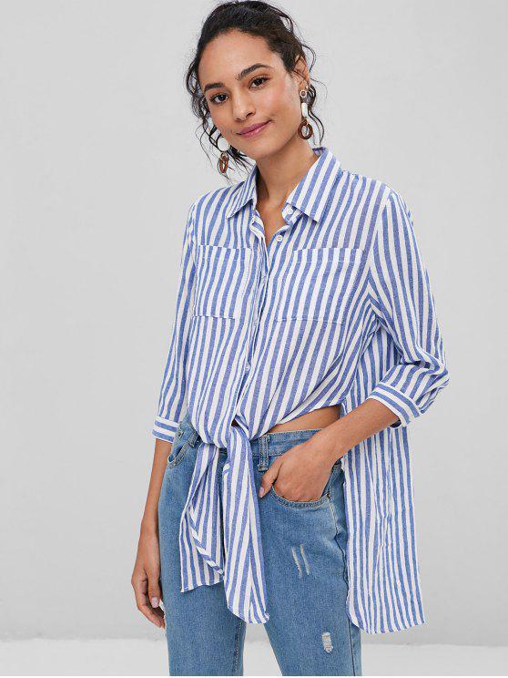 lady Side Slit Chest Pockets Striped Shirt - BLUE S