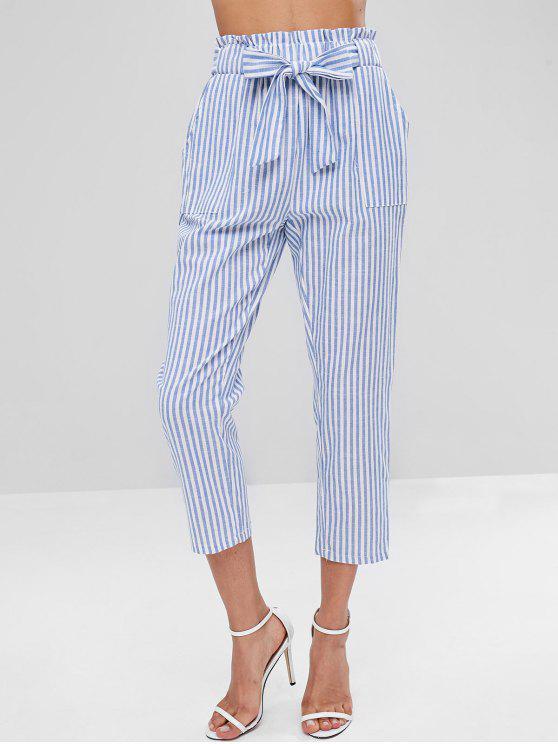 Pantalones a rayas con cinturón - Azul Claro S