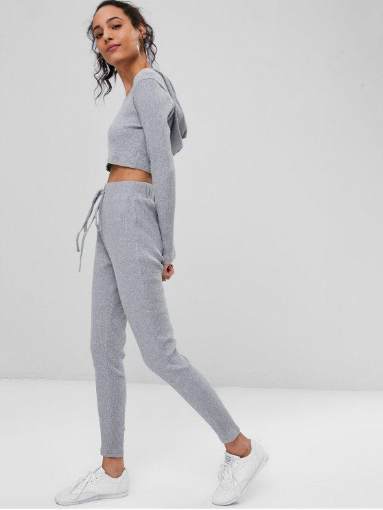 chic Ribbed Crop Top and Pants Sweat Suit - GRAY L