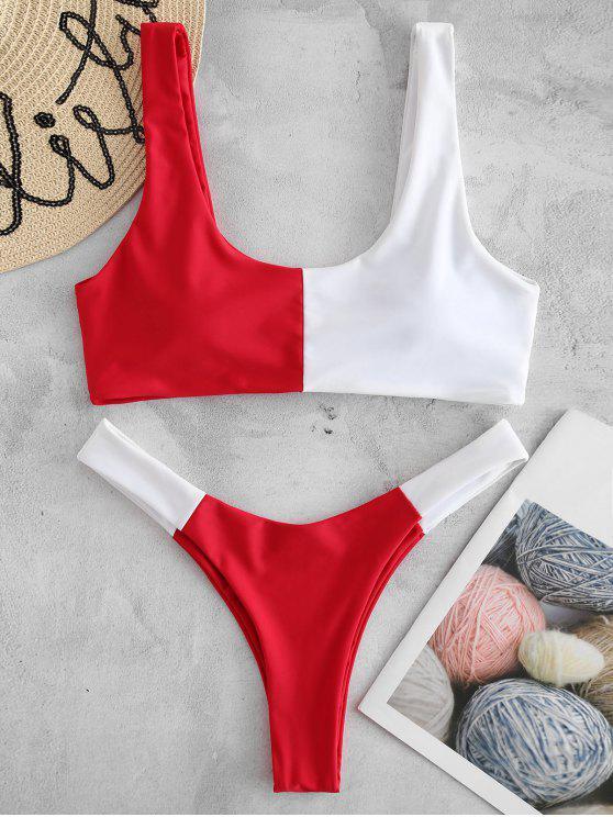 Bikini A Gamba Alta A Blocchi Di Colore Con Colletto Rotondo - Rosso L