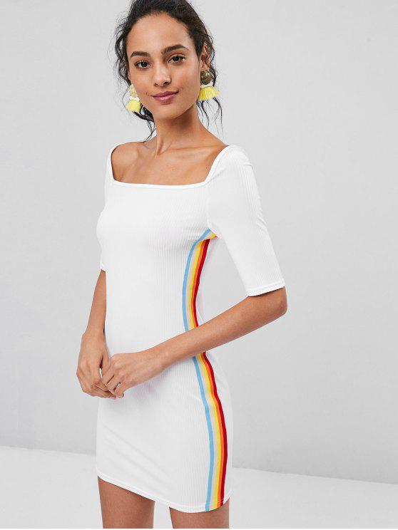 Stripes Panel مضلع اللباس BODYCON - أبيض S