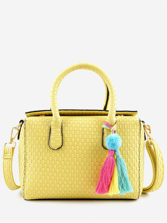 women's Retro All Purpose Tassels Braid Handbag with Strap - YELLOW