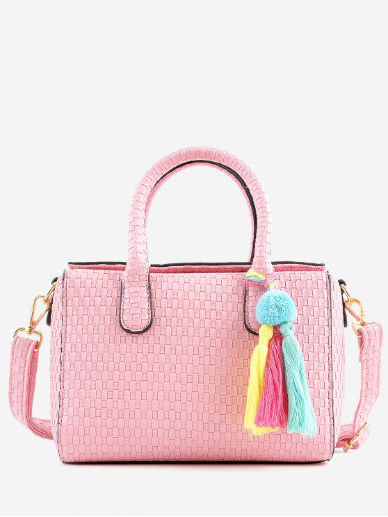affordable Retro All Purpose Tassels Braid Handbag with Strap - PINK